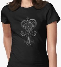 Heart Flower - Silver Womens Fitted T-Shirt