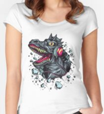 Dino with Headphones Grey Ebony Clay Women's Fitted Scoop T-Shirt