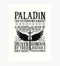 PALADIN, THE OATHBOUND KNIGHT- Dungeons & Dragons (Black) Art Print