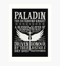 PALADIN, THE OATHBOUND KNIGHT- Dungeons & Dragons (White) Art Print