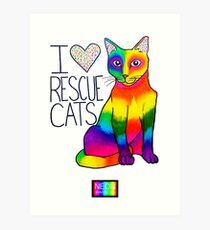 I (Heart) Rescue Cats Art Print