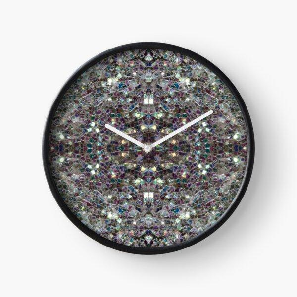 Sparkly colourful silver mosaic mandala Clock