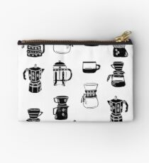 coffee makers espresso linocut black and white minimal cafe Zipper Pouch