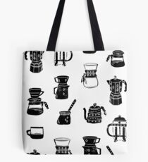 coffee makers espresso linocut black and white minimal cafe Tote Bag