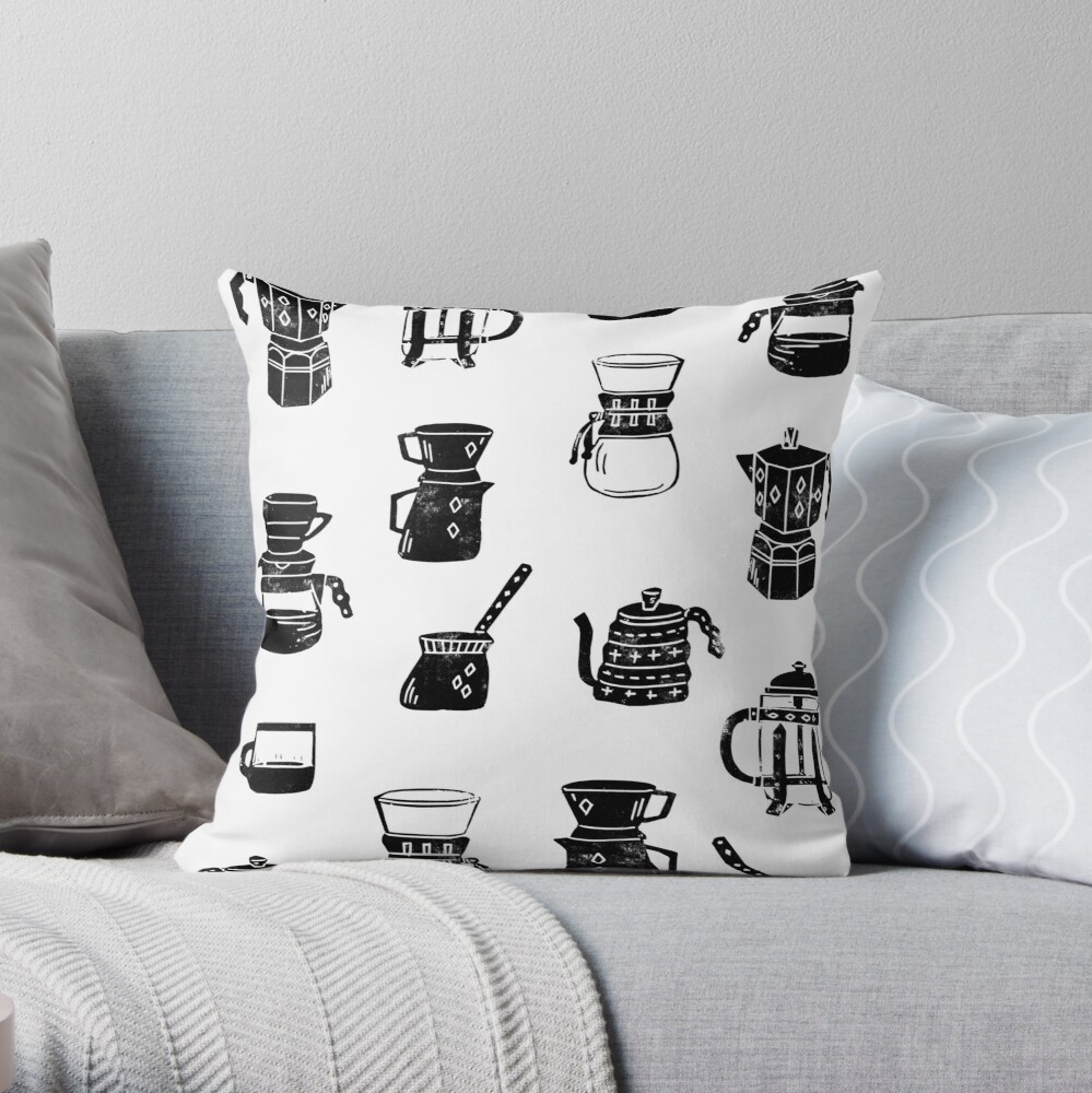 coffee makers espresso linocut black and white minimal cafe Throw Pillow