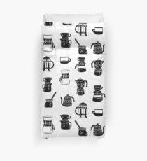 Kaffeemaschinen Espresso Linolschnitt schwarz und weiß minimal Cafe Bettbezug