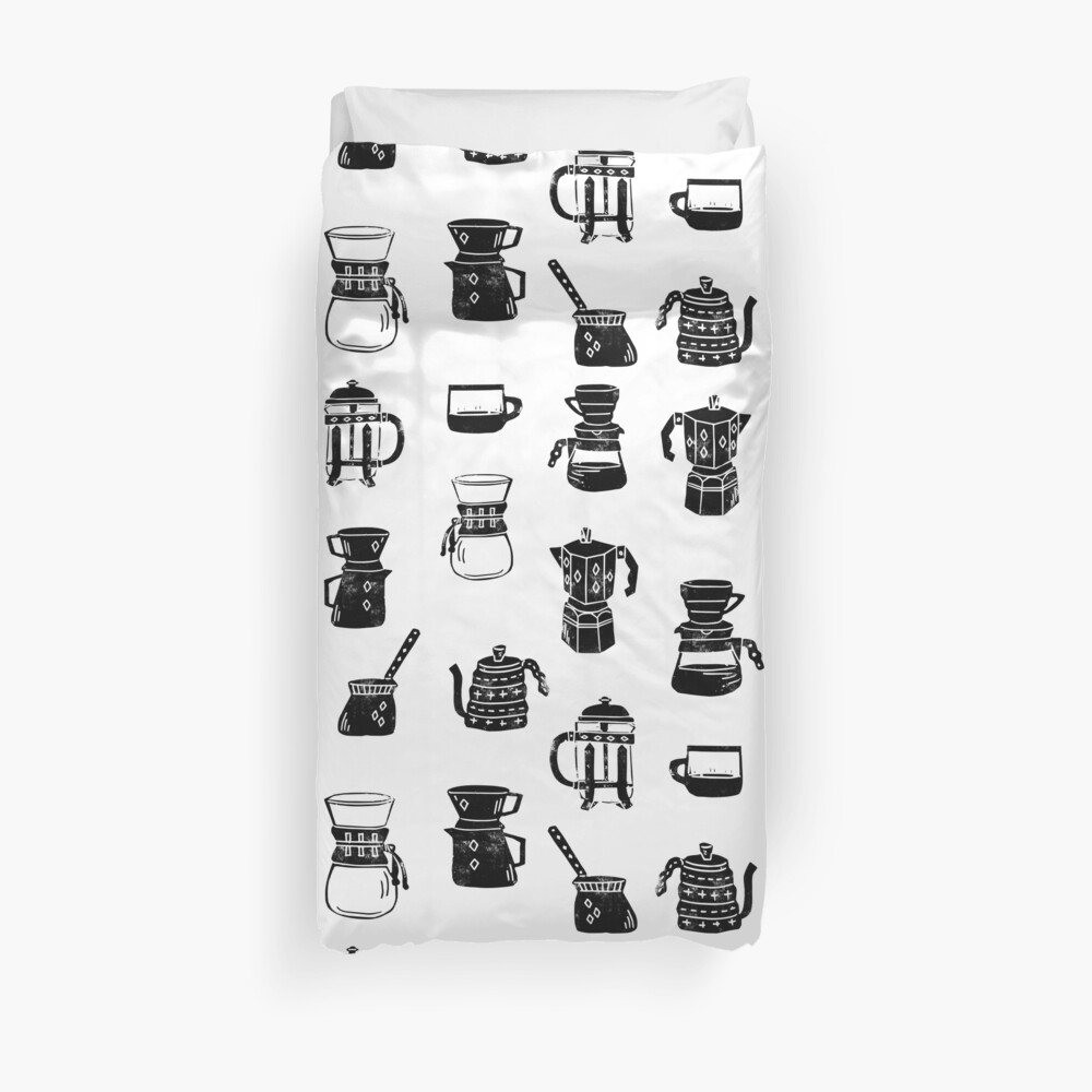 coffee makers espresso linocut black and white minimal cafe Duvet Cover