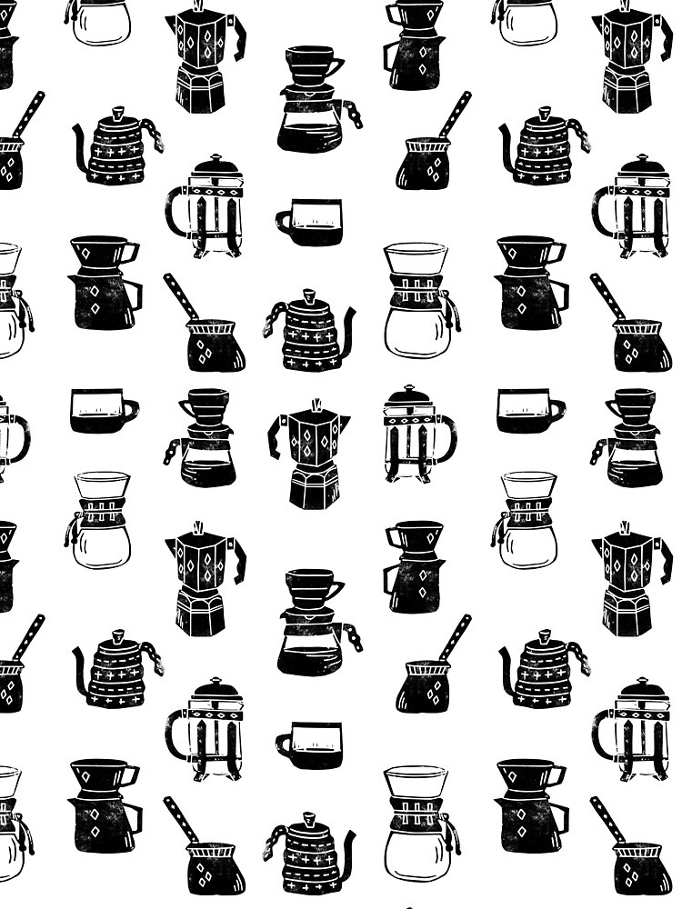 coffee makers espresso linocut black and white minimal cafe by monooprints