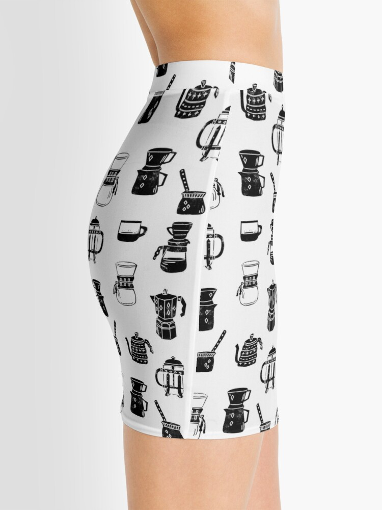 Alternate view of coffee makers espresso linocut black and white minimal cafe Mini Skirt