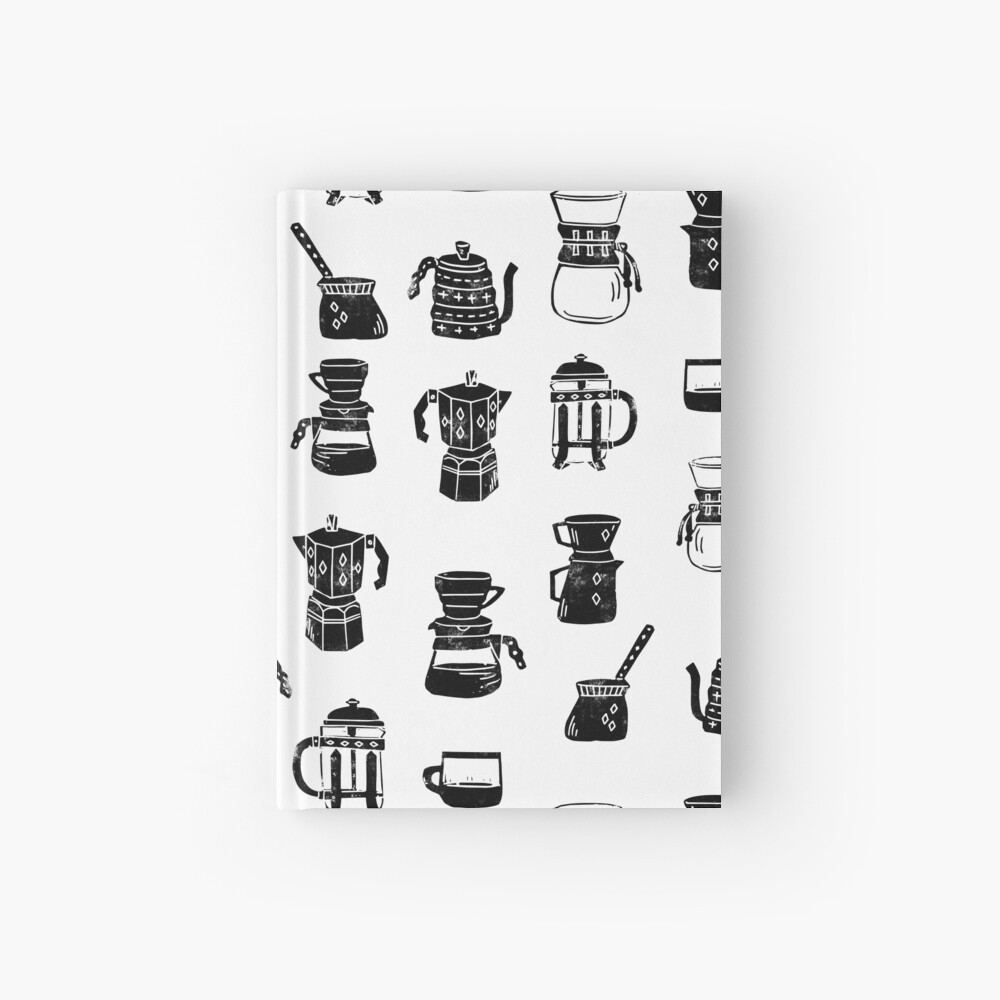 coffee makers espresso linocut black and white minimal cafe Hardcover Journal