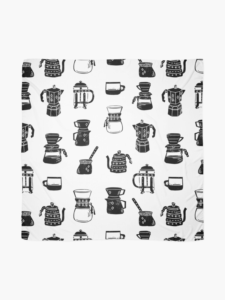 Alternate view of coffee makers espresso linocut black and white minimal cafe Scarf