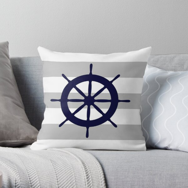 Nautical Navy Blue Ship's Steering Wheel On Silver Gray Stripes Throw Pillow