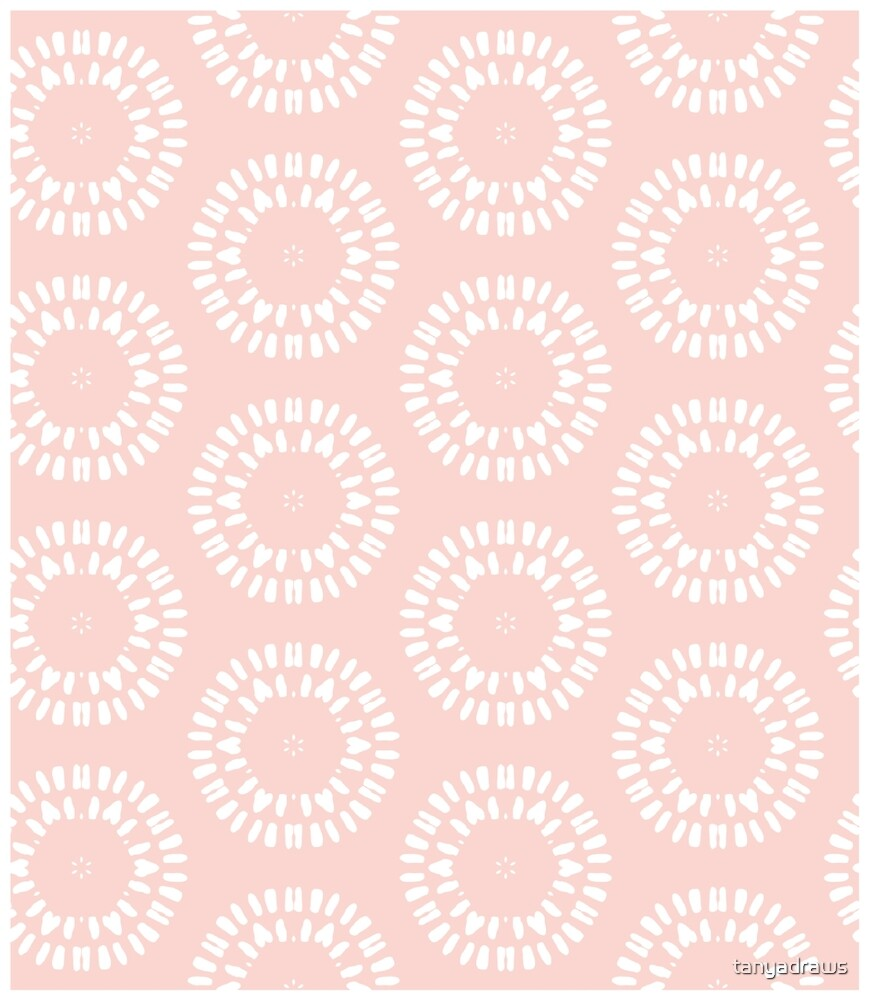 Cute Pink & White Drawn Circles Pattern by tanyadraws