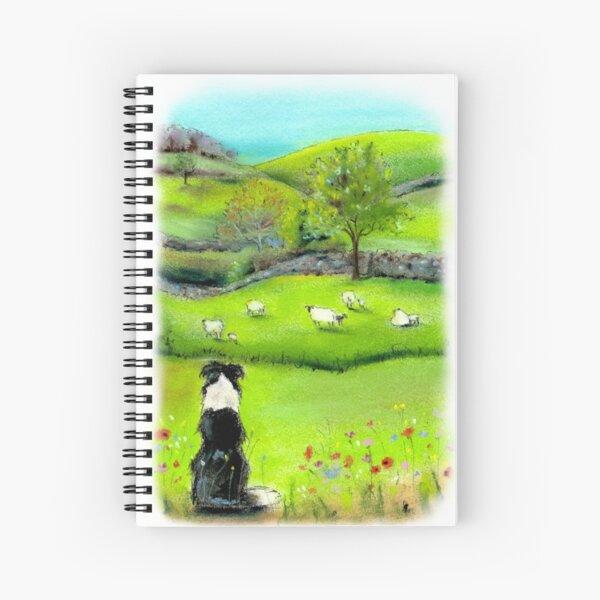 Keeping Watch - Border Collie Sheep Dog Spiral Notebook