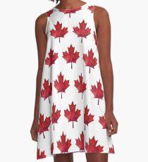 Kanada-Tagesaquarell-Ahornblatt-Muster A-Linien Kleid