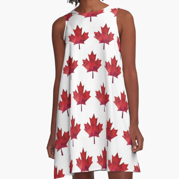Canada Day Watercolour Maple Leaf Pattern A-Line Dress