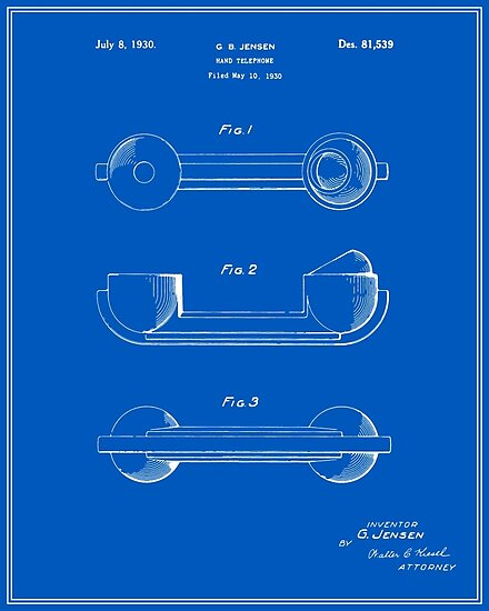Telephone handset patent blueprint posters by finlaymcnevin telephone handset patent blueprint malvernweather Image collections