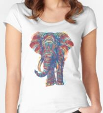 Ornate Elephant (Watercolor Version) Women's Fitted Scoop T-Shirt