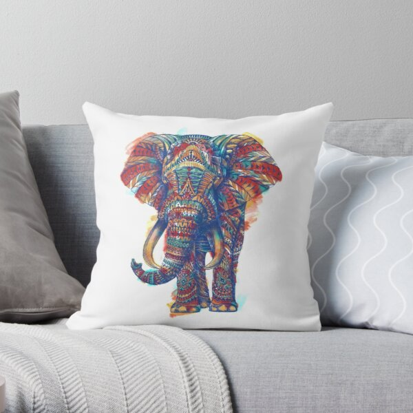 Ornate Elephant (Watercolor Version) Throw Pillow