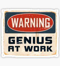 Warning - Genius at work Sticker
