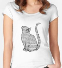 cat reading book sticker Women's Fitted Scoop T-Shirt