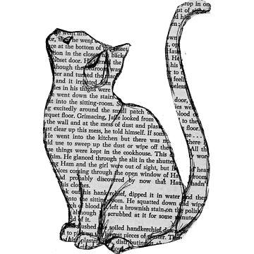 etiqueta de libro de lectura de gato de Zelius