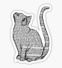 cat reading book sticker Sticker