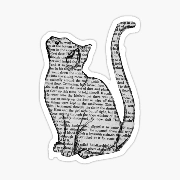 cat reading book sticker Sticker