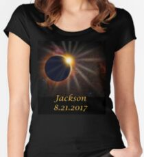 Jackson Hole Wyoming Solar Eclipse  Women's Fitted Scoop T-Shirt