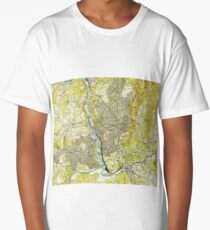 Vintage Map of Asheville North Carolina (1943) Long T-Shirt