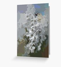 abstract of White Hollyhocks Greeting Card