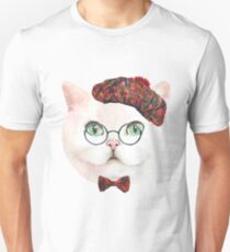 Vintage White Cat With Glasses  T-Shirt