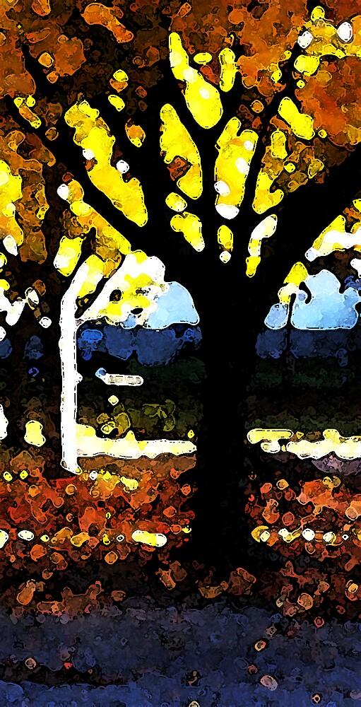 Lönnar i morgonsol - maple trees by Jan Holmstrand