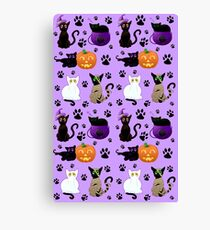 Halloween Cats (Purple) Canvas Print