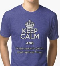 Keep Calm as Cthulhu Sleeps Tri-blend T-Shirt