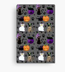 Halloween Cats (Grey) Canvas Print