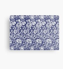 William Morris Carnations | Navy Blue and White Floral Pattern Metal Print
