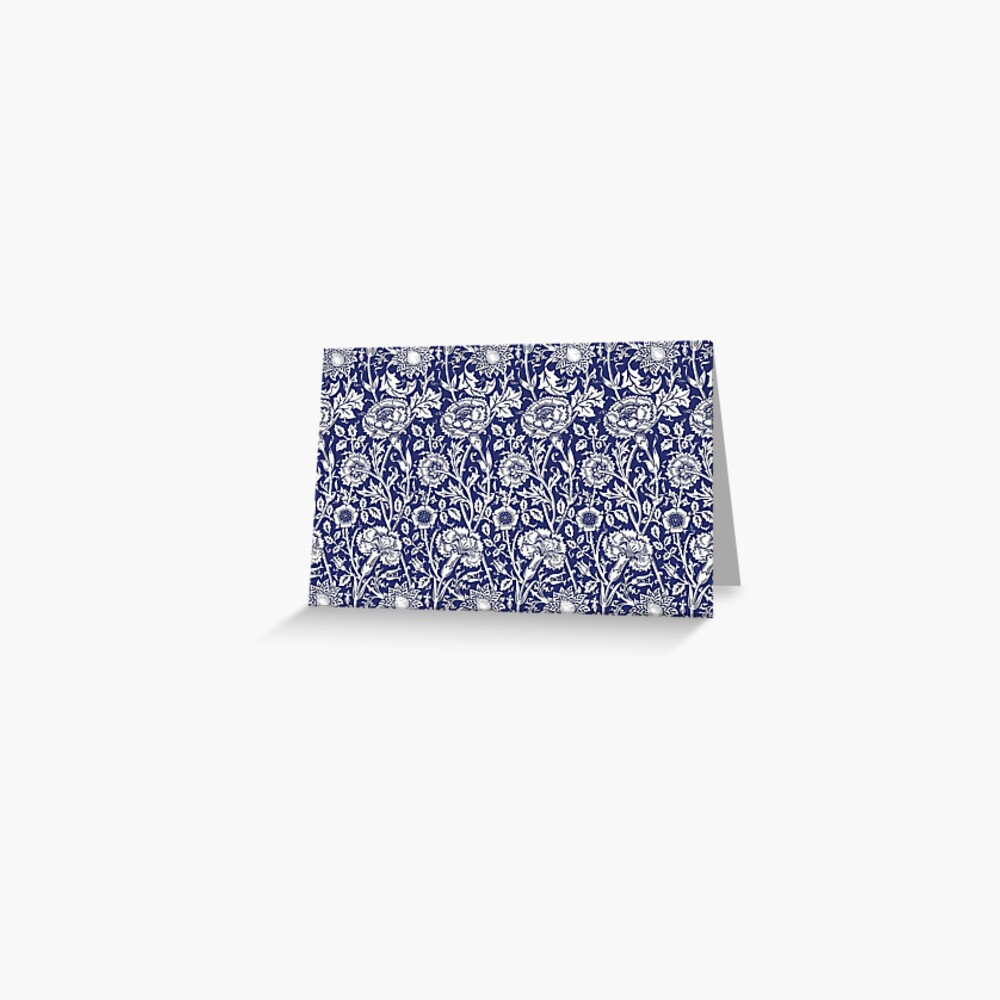 William Morris Carnations   Navy Blue and White Floral Pattern   Flower Patterns   Vintage Patterns   Classic Patterns   Greeting Card