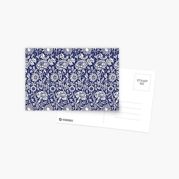 William Morris Carnations | Navy Blue and White Floral Pattern | Flower Patterns | Vintage Patterns | Classic Patterns | Postcard