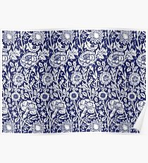 William Morris Carnations   Navy Blue and White Floral Pattern Poster