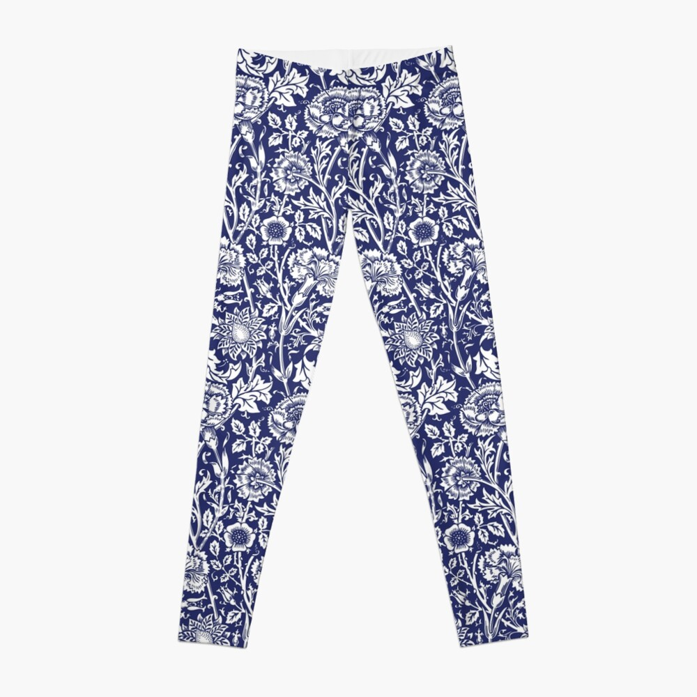 William Morris Carnations | Navy Blue and White Floral Pattern | Flower Patterns | Vintage Patterns | Classic Patterns | Leggings