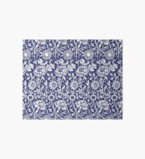 William Morris Carnations | Navy Blue and White Floral Pattern Art Board