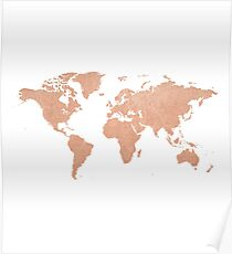 Rose Gold Foil Map of the World  Poster