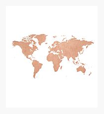 Rose Gold Foil Map of the World  Photographic Print