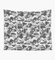 BAPE Camo Greyscale Black and White Wall Tapestry