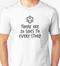 Camiseta ajustada Hay 20 lados de cada historia: mazmorras y dragones (negro)