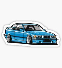 Stanced out E36 Blue Sticker