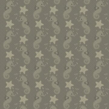 Sepia Seahorses and Starfish Pattern by Braznyc