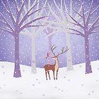 Deer - Squirrel - Winter - Snow - Forest by Cristina Bianco Design