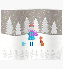 Girl - Fox - Winter Poster